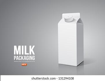 Milk box packaging, vector illustration