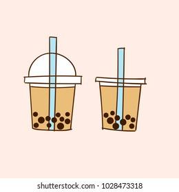 Milk Bubble Tea. Doodle drawing vector