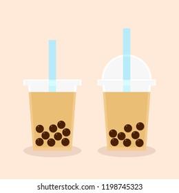 Milk Bubble Tea. Vector icon