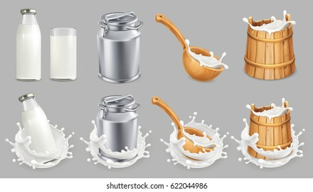 Milk can and splash. Natural dairy products, 3d vector icon set
