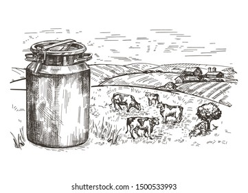 Milk can and village landscape. Cows graze in the pasture. Healthy eating. Sketching graphics.