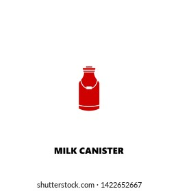 milk canister icon. milk canister vector design. sign design. red color