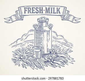 Milk cans and glass of milk, illustration in graphical style.