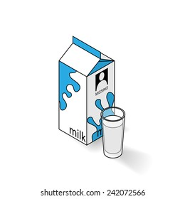 Milk carton and glass of milk on a white background. Isometric vector illustration