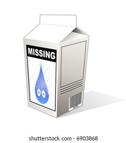 Milk carton with a missing raindrop notice.