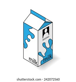 Milk carton on a white background. Isometric vector illustration