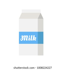 Milk carton paper packaging icon isolated. Vector stock.