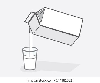 Milk carton pouring into glass of milk