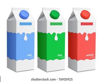Milk carton with screw cap. Collection of milk boxes