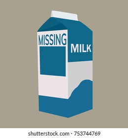 Milk carton with space for missing person. Flat vector illustration