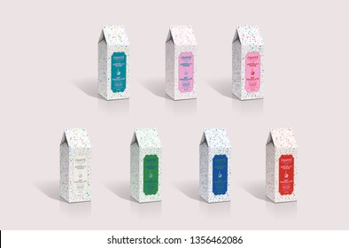 Milk chocolate candy carton 3d packaging design illustration template fun holiday festive season boxes perfume cosmetics candles