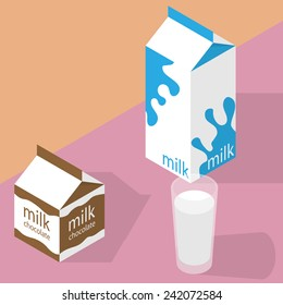 Milk and chocolate milk carton and glass of milk. Isometric vector illustration