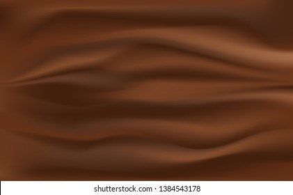Milk chocolate Cream.brown chocolate background with Crease Wavy Folds.with soft waves, waving in the wind.Texture of cream.Milk,Yogurt,Cream or cosmetics product Curl background. vector, illustration