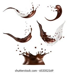 Milk and chocolate splashes vector isolated over white background. pouring liquid or milkshake falling with drops and blots. 3d illustration.