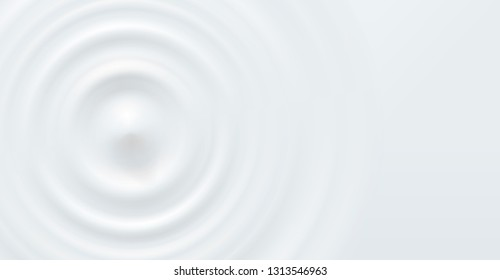 Milk circle ripple, splash water waves top view from drop on white background. Vector cosmetic cream, shampoo, milk product or yogurt swirl round texture surface template.