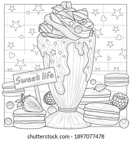 Milk cocktail and macaroon. Coloring book antistress for children and adults. Illustration isolated on white background.Zen-tangle style. Black and white drawing - Shutterstock ID 1897077478