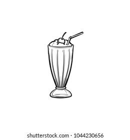 Milk cocktail with a maraschino cherry and straw in tall glass hand drawn outline doodle icon. Glass of milkshake with whipped cream vector sketch illustration for print, web, mobile and infographics.