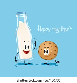 Milk and cookie. Cute illustration