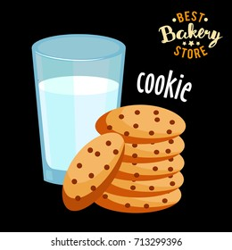 milk and cookies flat icon vector. Chocolate cookies and glass milk vector