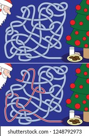 Milk and cookies for Santa Claus maze for kids with a solution
