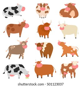 Milk cow with calf bull buffalo vector illustration. Cartoon cute cows and bulls different poses black and white smile face