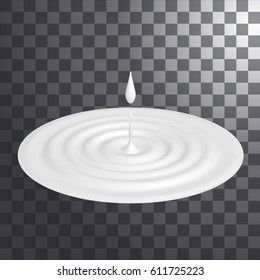 Milk or cream, dairy product isolated. Cream splash or milk splash with ripple and falling drop, making circle. Vector illustration.