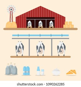 milk and dairy product from dairy farm on background. Vector illustration