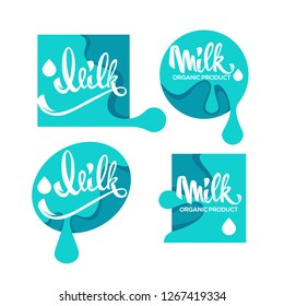Milk and Dairy Product Logo, Label, Emblem With Hand Drawn Lettering Composition