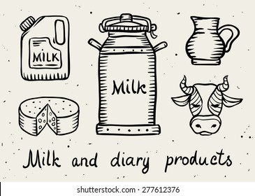 Milk and dairy products draft sketch. Eps8 vector illustration