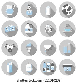 milk and dairy products flat icon set vector illustration design with long shadow isolated on white background. for web and mobile application