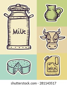 Milk and dairy products hand drawn set draft sketch. Eps8 vector illustration