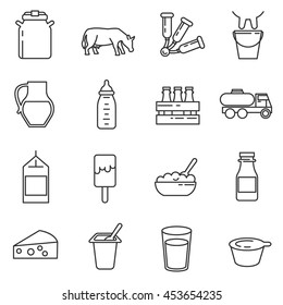 Milk and dairy products icon set. Milk reception collection. Thin line design
