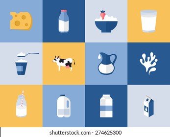 Milk and dairy products icons for graphic, web and logo design