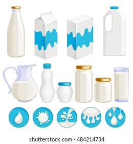 Milk dairy products icons set. Yogurt, cream, kefir in assorted containers - jug, jar, box, plastic and glass. Milk drop symbols. Vector illustration.