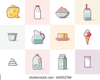 Milk and dairy products thin line icons for web, graphic and logo design. Isolated vector illustration