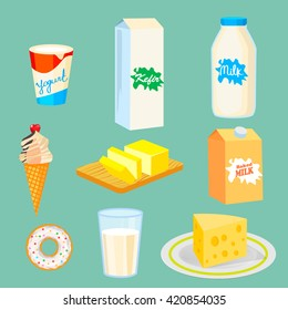 Milk and Dairy products.  vector illustration of yogurt, kefir, milk, ice cream, butter, cheese.Dairy farm