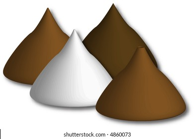 milk, dark and white chocolate candy kisses with one broken tip