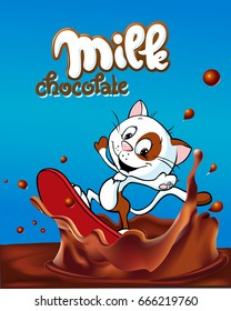 milk design with cute cat surfing on chocolate splash cartoon - vector illustration