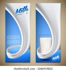 Milk design flyer vector illustration with milk or cream swirl