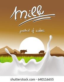 milk design with milk splash, cow and sunset - vector illustration