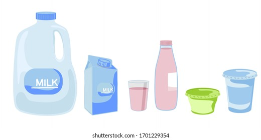 Milk in different packages, kefir and yogurt. Vector illustration set isolated on white background