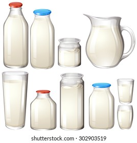 Milk and drink botles on white illustration