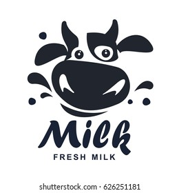 Milk elegant vector logo template. Label, sticker, icon. Symbol for milk and skim. Web graphics, banners, advertisements, brochures, business templates. Isolated on a white background