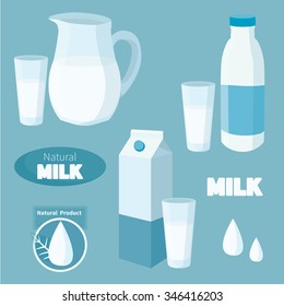 Milk, elements for design dairy products.Vector set