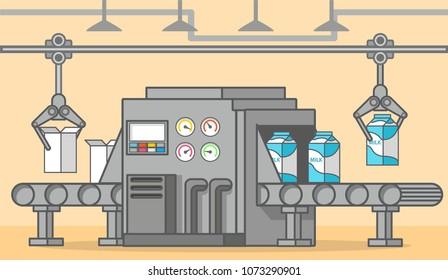 Milk factory conveyor belt of a box drink.Automatic product line.Food factory machine.Line art flat vector.