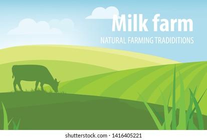 Milk farm. Natural farming traditions. Rural landscape, farm animals and design elements