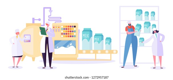 Milk Farm Production Industry Line Collection. Dairy Food Machine Plant Set. Modern Woman Character Test Dairy Beverage Quality in Manufacture Tank Refrigerator Flat Cartoon Vector Illustration