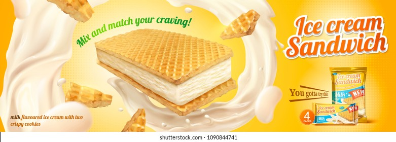 Milk flavoured ice cream sandwich with wafer cookies and swirling fillings in illustration, chrome yellow background
