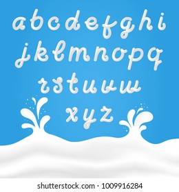 Milk font with latin letters. White milk hand drawn alphabet with liquid letters on background with milk splashes. Vector