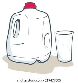 Milk gallon and glass of milk